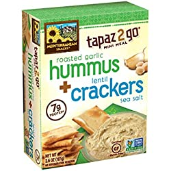 Mediterranean Snacks Lentil Crackers with Roasted Garlic Hummus, 3.6 Ounce (Pack of 6)