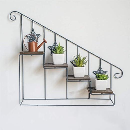 HPYR Soporte de Flores de Hierro Forjado, Escalera de Flores de 3 Niveles, estantes para macetas montados en la Pared, Pantalla de jardín, decoración de balcón de Sala de Estar Interior-1: Amazon.es: