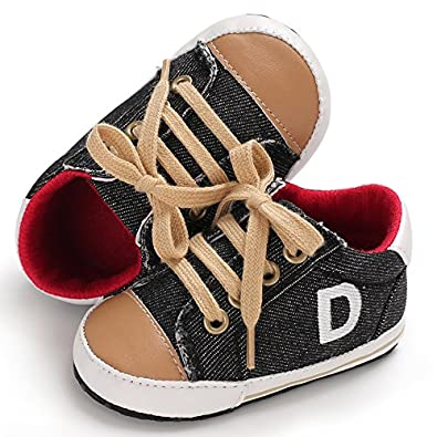 Unisex Baby Boys Soft Anti-Slip Sole Lace up Sneakers Newborn First Walkers Canvas Shoes