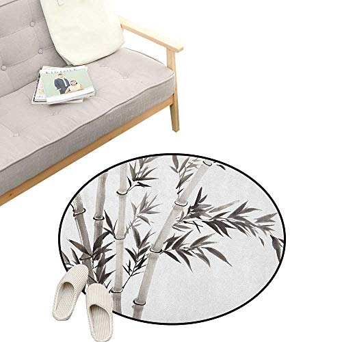 Bamboo Round Area Rug Non-Slip ,Traditional Bamboo Leaves Meaning Wisdom Growth Renewal Unleash Your Power Artprint, Living Room Bedroom Coffee Table 47
