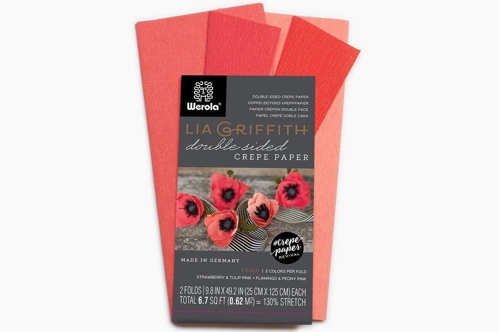 Lia Griffith, carta crespa a doppio lato, molto fine, 4 colori per confezione (fragola, tulipano e fenicottero, peonia) Werola