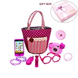 My First Purse Pretend Play Make up Set 10 PCS, Pretty Role Play Toy for Girls, Educational Pretend Toy for Preschoolers and Toddler Purse, Birthday, Christmas Gift, New Year, Holiday Gift in Gift Box