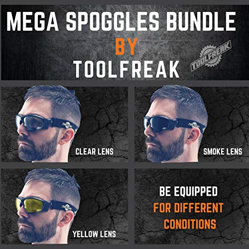 ToolFreak Spoggles Work & Sports Safety Glasses, Clear, Smoke & Yellow Tinted Lens Mega Bundle Offer, Foam Padded, ANSI z87 Rated with Impact & UV Protection by ToolFreak (Image #1)