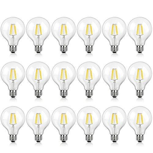 SHINE HAI G25 LED Vintage Filament Bulbs, 4W (40W Equivalent), 470 Lumens, 2700K Warm White, 360° Beam Angle, E26 Base Globe Bulb, Pack of 18