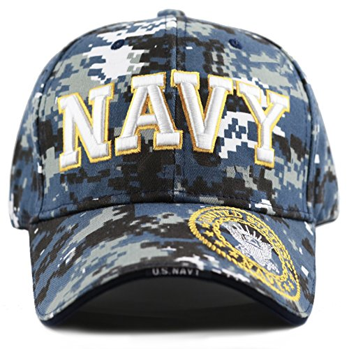 THE HAT DEPOT 1100 Official Licensed Military 3D Embroidered Logo Cap (Navy Blue Digital Camo) ()