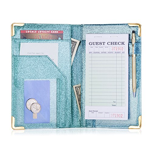 Sonic Server Dazzling Glitter Server Book and Waiter Waitress Organizer for Waitstaff | Aqua Turquoise Bling | 10 Pockets Holds Guest Checks, Money, Receipts, Order Pad with Pen Holder Loop by Sonic Server