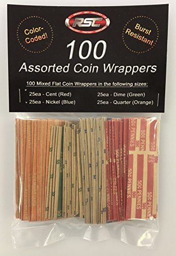 100 Assorted Flat Coin Wrappers by Ready-Set-Collect!
