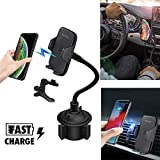 Merfinova Fast Wireless Phone Cup Holder Car Charger, Universally Adjustable Car Phone Mount Wireless Charger Compatible with iPhone 8 X Xr Xs Max Samsung Galaxy S9 S8 (Wireless Charger Holder)