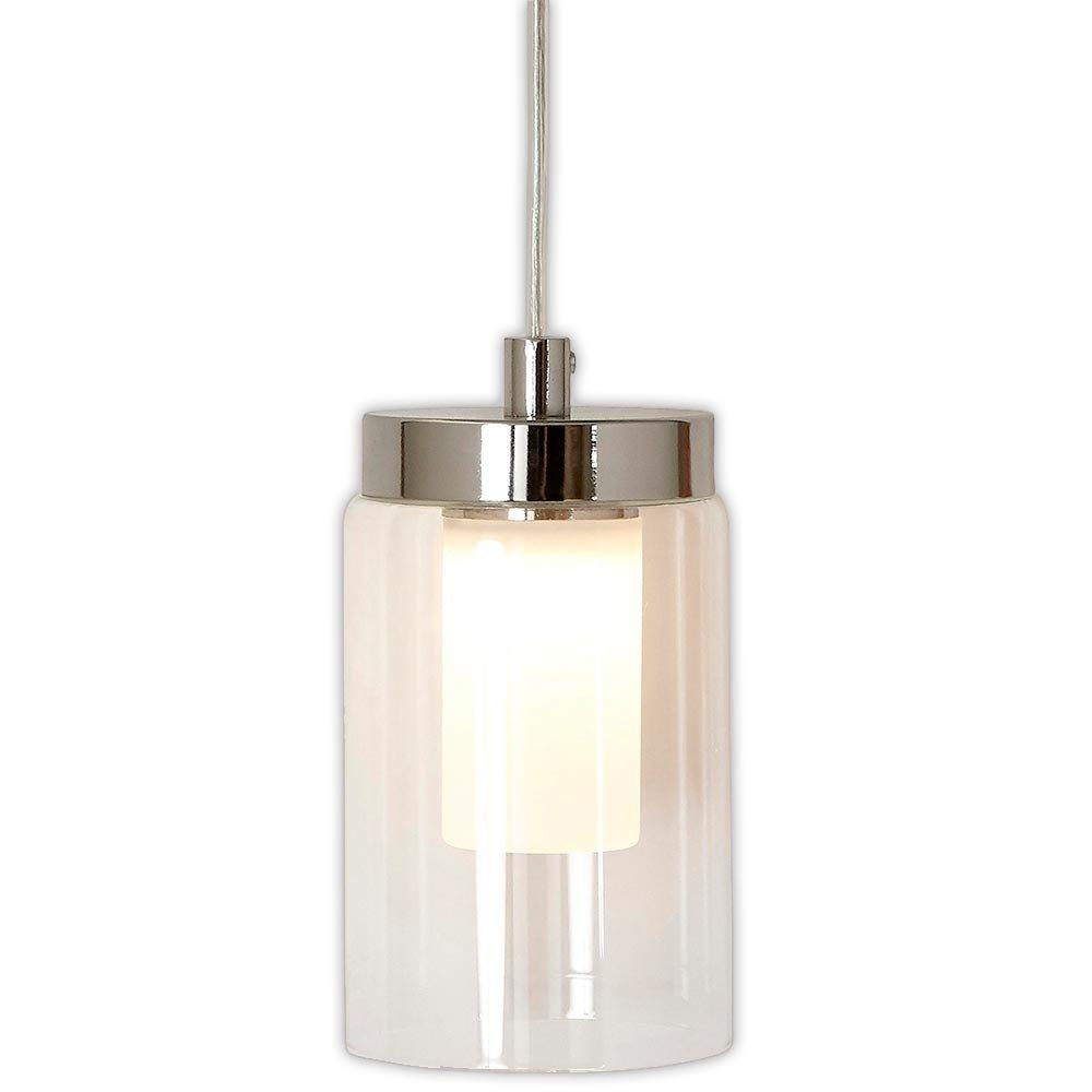 Polished Nickel Candle Light Hanging Pendant | Glass Surrounded LED Lighting Fixture | Vanity, Bedroom, Kitchen or Bathroom | Interior Lighting