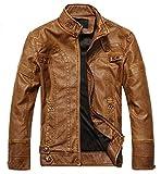 MOZRI Men's Leather Jacket (Tan, Small)