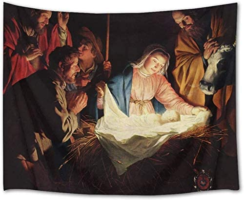 LB Jesus Nativity Tapestry Wall Hanging Birth of Jesus Virgin Mary Tapestry Wall Art Decor Christian Religious Tapestry Backdrop for Bedroom Living Room Dorm Home Decor,92.5Wx70.9H inches