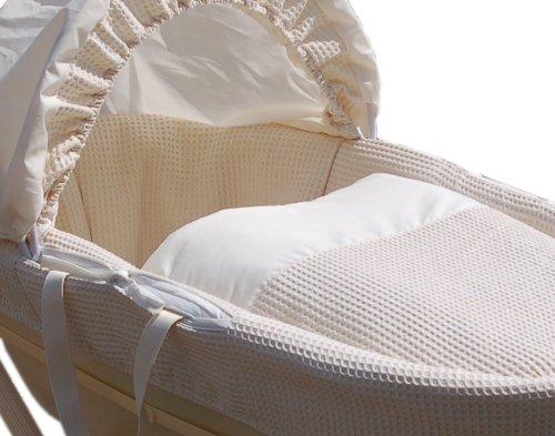 White Basket Hood and Mattress Shnuggle Moses Basket with White Waffle Cotton Dressing