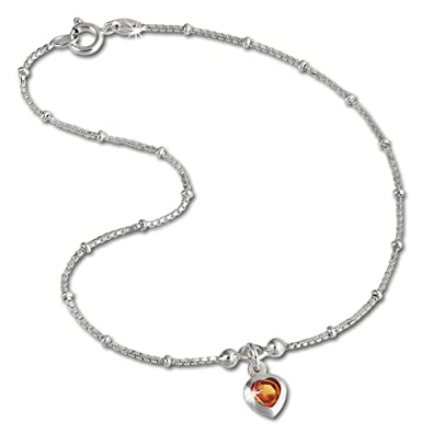 SilberDream Zirconia Anklets Foot Chain Silver 23 cm 925 Sterling Amber Heart By SDF2023Y 4FCiUk
