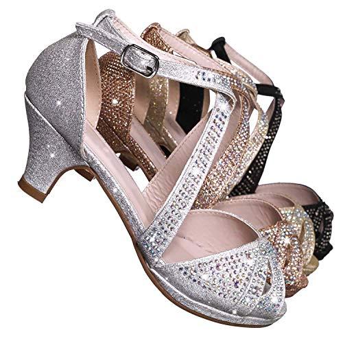 Aquapillar Children Girl Bling High Block Heel Dress Sandal, Rhinestone Glitter (Jane Mary Criss Platform Cross)