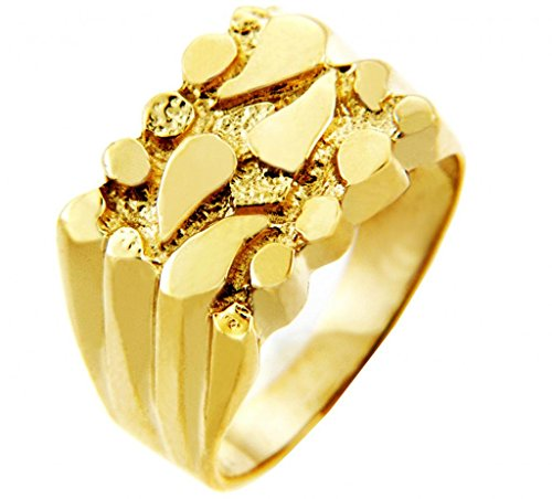 Men's Gold Nugget Rings - The Hero Solid Gold Nugget Ring(10K) (13)