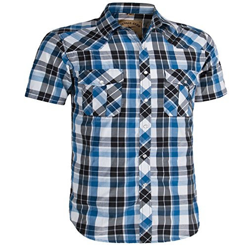 Mens Casual Country Club - Coevals Club Men's Casual Plaid Snap Front Short Sleeve Shirt (White / blue #17, XXL)
