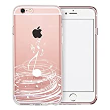 iPhone 6S Plus Case, SwiftBox Clear Case with Design for iPhone 6/6S Plus with Tempered Glass Screen Protector (White Music)