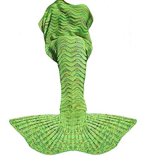 DDMY Mermaid Tail Blanket for Kids Teens Adult, Handmade Wave Mermaid, Crochet Knitting Blanket, Seasons Warm Soft Living Room Sleeping Bag, Best Birthday Christmas Gift, (Wave Knitting Bag)