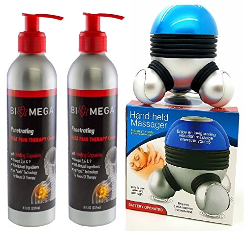 Bio-Mega Penetrating Heat Therapy Cream Pack of 2, With free Hand - Held Massager. by Biomega