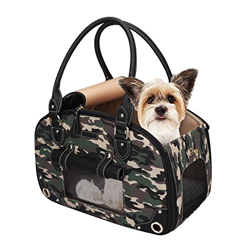 PetsHome Dog Carrier Purse, Pet Purse, Foldable Waterproof Premium Nylon Pet Travel Portable Bag Carrier for Cat and Small Dog Home/Outdoor Camouflage Green (Camouflage Carrier Dog)