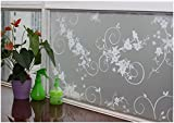 CHOIS Adhesive 002 Glass Window Films Stickers Floral Frosted Privacy Vinyl Home Arts 35'' x 1800''