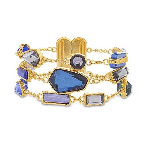 Catherine Malandrino Women's Blue Multi-Tonal Multi Strand Rolo Chain Yellow Gold-Tone Bracelet by Catherine Malandrino