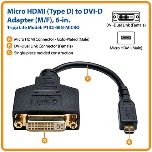 Tripp Lite 6-Inch Micro-HDMI to DVI-D Cable Adapter Type D P132-06N-MICRO 6-in. M//F 6,Black