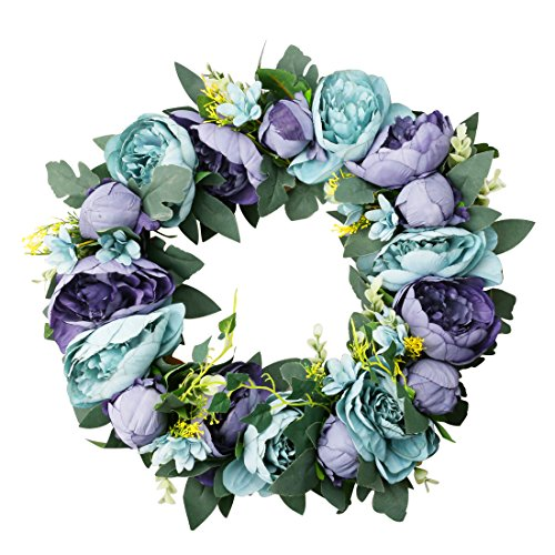 A-SZCXTOP Floral Christmas Wreath Christmas Wreath for Front Door Artificial Silk Flower Grand with Maple Leaf Peony 15.5 Inch (Blue)