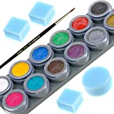 FACE PAINT KIT with 12 PROFESSIONAL NON-TOXIC Color Paints, SAFE for KIDS & Adults, 100% Water Activated, 4 Sponges