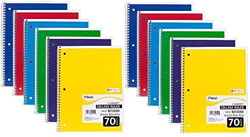 "Mead Spiral Notebook, College Ruled, 1 Subject, 70 Sheets, 7.5"" x 10.5"", 12 Pack, Assorted Colors (05512-12)"