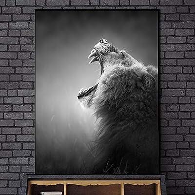 xingbu Sin marcoHowling Lion Canvas Art Prints Blanco y ...