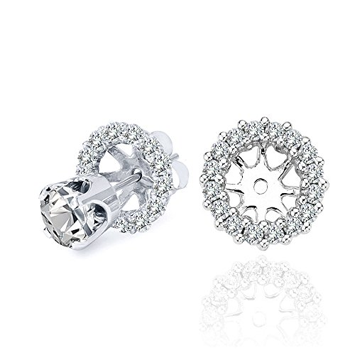 1.20 Carat G-H Diamond Halo Solitaire Stud Earrings Jackets 14K White Gold For 7 MM 3.00 Carat Earrings
