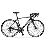 VTSP VS-720 Carbon Fiber Frame 20 Speeds Road Bike 48cm 700C Shimano Tiagra M4700 Pro C Brakes System Road Racing Bike Suitable for 5.7 feet~6.0 feet Rider (Black-grey) VTSP