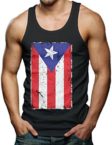 UPC 889104699576, Big Distressed Puerto Rican Flag Men's Tank Top T-shirt (Large, BLACK)