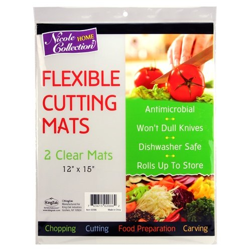 Flexible Plastic Cutting Board Mats set, Clear Kitchen Cutting Board Set of 2 Clear Mats]()