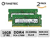 Timetec Hynix 16GB Kit (2x8GB) DDR4 2133MHz PC4-17000 Unbuffered Non-ECC 1.2V CL15 1Rx8 Single Rank 260 Pin SODIMM Laptop Notebook Computer Memory RAM Module Upgrade (16GB Kit (2x8GB))