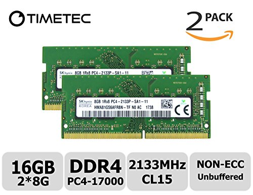 Timetec Hynix 16GB Kit (2x8GB) DDR4 2133MHz PC4-17000 Unbuffered Non-ECC 1.2V CL15 1Rx8 Single Rank 260 Pin SODIMM Laptop Notebook Computer Memory RAM Module Upgrade (16GB Kit (Upgrade Notebook)