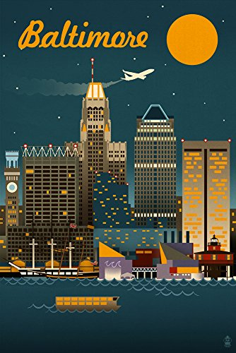 Baltimore, Maryland - Retro Skyline (24x36 Giclee Gallery Print, Wall Decor Travel - Gallery The Hours Baltimore