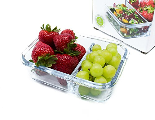 Glass Meal Prep Food Storage Container Set – 2 Compartment Dishes with Divider - BPA Free, Microwavable, Perfect Portion Control Lunch Box - 1 Pack, Small (Lunch Box Portion Perfect)