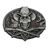YONE Western Cowboy Skull Pirate Rifles Belt Buckle Red(Size: 1.5 inch)