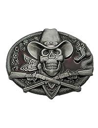 Western Cowboy Skull Pirate Rifles Belt Buckle Red