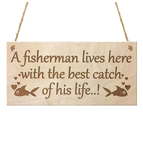 SODIAL(R) FISHERMAN HUSBAND WIFE FUNNY HANGING WOODEN WALL SIGN