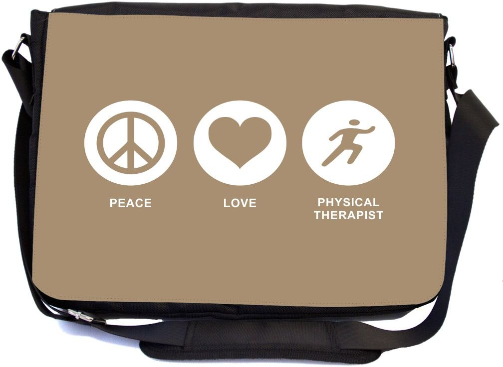 Rikki Knight Peace Love Physical Therapist Brown Color Design Multifunctional Messenger Bag - School Bag - Laptop Bag - with Padded Insert for School or Work - Includes Matching Compact Mirror