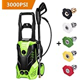 Rendio 3000 PSI Electric Pressure Washer, 1800W Rolling Wheels High Pressure Professional Washer Cleaner Machine with Power Hose Nozzle Gun and 5 Quick-Connect Spray Tips