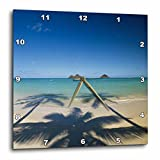 3D Rose Hawaii Islands-Oahu-View of Lanikai Beach Wall Clock, 15'' x 15''