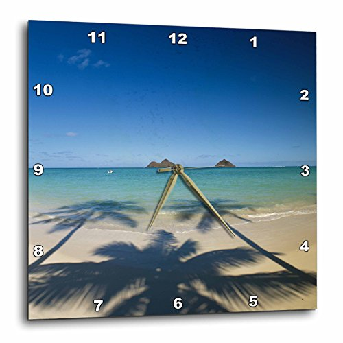 3D Rose Hawaii Islands-Oahu-View of Lanikai Beach Wall Clock, 15'' x 15'' by 3dRose