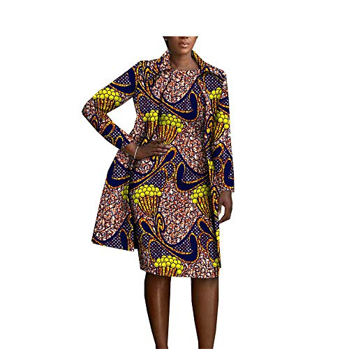African Clothing 2 Pieces Set for Women Coat Jacket+Sleeveless Knee Length Dress Set 489 XXS