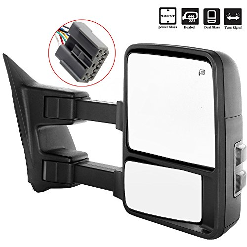 (SCITOO Towing Mirrors fit Ford 2003-2007 Ford F250 F350 F450 F550 Super Duty Tow Mirrors Power Controlling Heated Convex Glass Manual Folding Telescoping Turn Signal Light Side Mirrors 2003 2004)