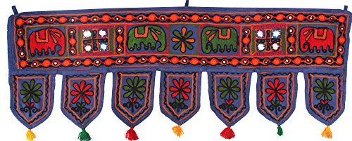 India Wall Door Hanging Toran Indian Tapestry Home Decor (Blue, 34 x 13 inches)