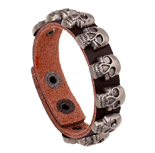 [Fariishta Jewelry Fashion Skull Gothic Retro Punk Style Brown Leather Bracelet] (Spirit Walker Costume)